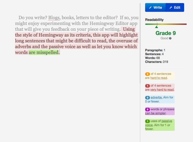 image of the opening paragraph in Hemingway Editor